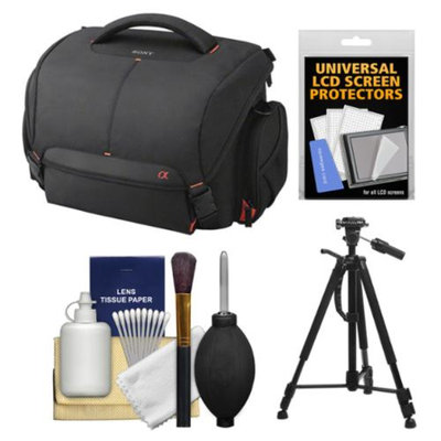 Sony LCS-SC21 Soft Digital SLR Camera Carrying Case with Tripod + Cleaning Kit for Alpha SLT-A37, A57, A58, A65, A77 & A99