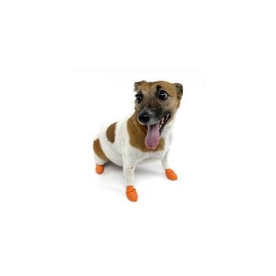 PET LIFE Medium Orange Rubberized Easy Slip-On Dog Balloon Shoes (Set of 4) 1RBORMD