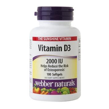 Webber Naturals Vitamin D3 2000IU, Softgels, 100 ea