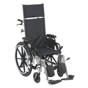 Drive Medical Viper Plus Light Weight Reclining Wheelchair with Elevating Legrest and Various Flip Back Arm Styles, Black, 20