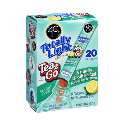 4C Totally Light Sugar Free Tea 2Go Naturally Decaffeinated Natural Lemon Flavor Drink Mix - 20 CT