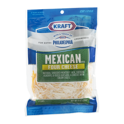 Kraft Shredded Cheese Mexican Style Four Cheese with Philadelphia Cream Cheese