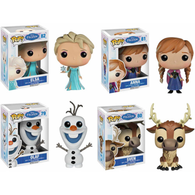 Funko Disney Frozen Pop! Vinyl Set, Anna, Elsa, Olaf and Sven