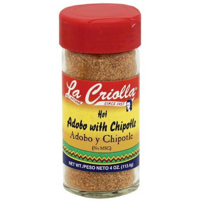 La Criolla Hot Adobo with Chipotle, 4.0 oz, (Pack of 12)