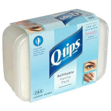 Q-Tips Cotton Swabs, Refillable Vanity Pack, 285 each (Pack of 6)