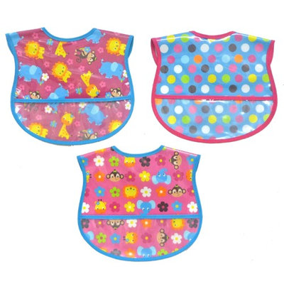 Hamco 3 Pack Girl Water Resistant Coverall Bib