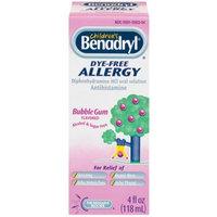 Pfizer Consumer Benadryl ChildrenS Allergy Relief, Dye Free Bubble Gum Flavored Liquid - 4 Oz