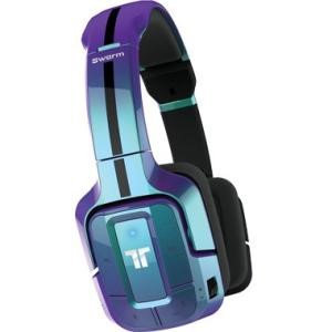 Mad Catz Tritton Swarm Wireless Mobile Headset With Bluetooth Technology - Surround - Blue - Mini-phone - Wired/Wireless - Bluetooth - Over-the-head - Binaural - Circumaural