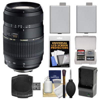 Tamron AF 70-300mm F/4-5.6 Di LD Macro Lens + 2 LP-E5 Batteries with Charger + Accessory Kit for Canon Rebel XS, XSi, T1i Digital SLR Cameras