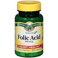 Spring Valley : Natural 400 Mcg Heart Health Folic Acid Dietary Supplement
