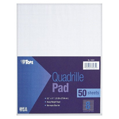 TOPS 8-1/2 x 11 Quadrille Pads, 8 Squares/inc- White (50 Sheets per