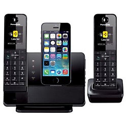 Panasonic Black Dock Style Telephone With iPhone5 Integration Capability