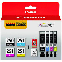 Canon 6497B004 Inks & Paper Pack, PGI-250 BK, CLI-251,4 Inks & 50 Sheets 4x6 Paper, CMYK