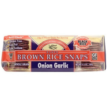 Edward & Sons Brown Rice Snaps, Onion Garlic, 3.5-Ounce (Pack of 12)