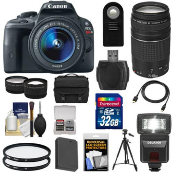 Canon EOS Rebel SL1 Digital SLR Camera & EF-S 18-55mm IS STM Lens with EF 75-300mm III Lens + 32GB Card + Battery + Case + Flash + 2 Lenses + Tripod Kit