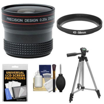 Precision Design 0.20x HD High Definition Fisheye Lens with Tripod + Accessory Kit for Canon EOS M Digital Cameras