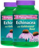 Piping Rock Echinacea & Goldenseal Root 2 Bottles x 180 Capsules