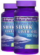 Piping Rock eco Shark Liver Oil 2 Bottles x 100 Softgels