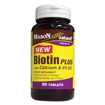Mason Vitamins Biotin Plus with Calcium & Vitamin D 3 Tablets, 60-Count Bottles (Pack of 3)