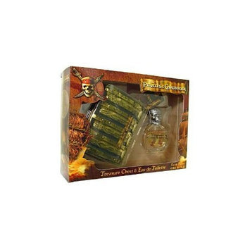 PIRATES OF THE CARIBBEAN by Air Val International SET-EDT SPRAY 1.7 OZ & PIRATES TREASURE CHEST & PADLOCK & TWO KEYS for MEN