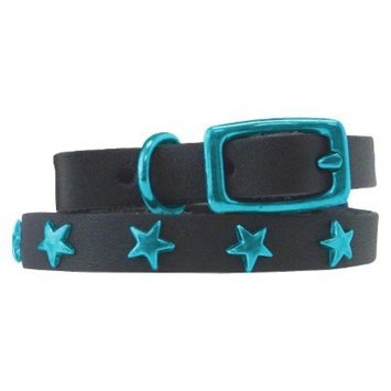 Platinum Pets Black Genuine Leather Cat and Puppy Collar with Stars -