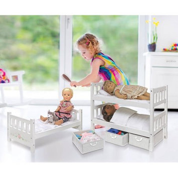 Badger Basket 1-2-3 Convertible Doll Bunk Bed with Storage Baskets White Rose