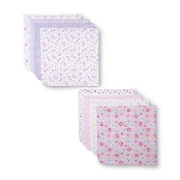 Cuddletime Infant Girl's 4 Pack Flannel Receiving Blankets - TRIBORO QUILT MFG. CORP.