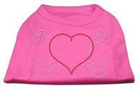 Mirage Pet Products 5237 XLBPK Heart and Crossbones Rhinestone Shirts Bright Pink XL 16