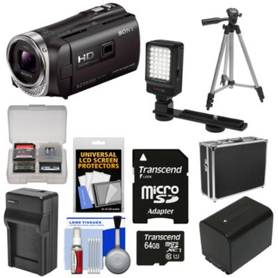Sony Handycam HDR-PJ340 16GB 1080p HD Video Camera Camcorder with Projector with 64GB Card + Battery + Charger + Hard Case + LED Light + Tripod + Kit