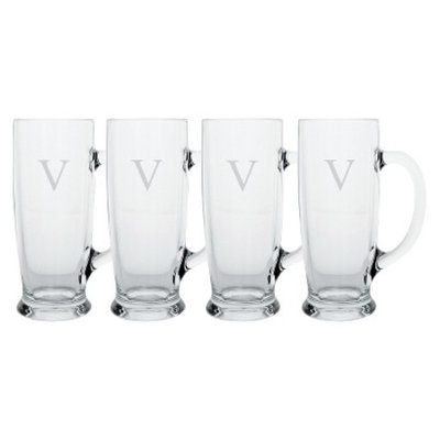 Cathy's Concepts Personalized Monogram Craft Beer Mug Set of 4 - V
