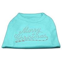 Mirage Pet Products 522507 XLAQ Merry Christmas Rhinestone Shirt Aqua XL 16