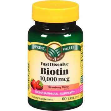 Spring Valley Strawberry Flavor Fast Dissolve Biotin Dietary Supplement Tablets, 10000mcg, 60 count
