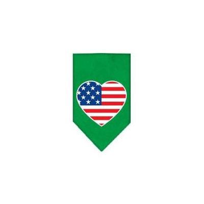 Ahi American Flag Heart Screen Print Bandana Emerald Green Large