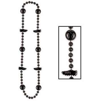 Party Central Pack of 12 Shiny Black Beaded Soccer Ball and Cleat Necklace Party Favors 36