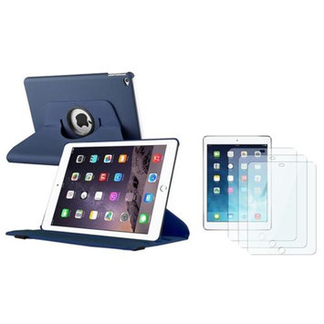 Insten INSTEN For iPad Air 2 2nd Gen Navy Blue Ultra Slim Leather 360 Degree Rotating Cover Case with Stand + 3x Protector