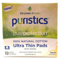 Puristics the Power of Pure Pureprotection 100% Natural Cotton Ultra Thin Pads with Wings Regular Absorbancy Chemical and Synthetic Free Cotton Hypoallergenic Pantiliners 10 Each (1 Box)