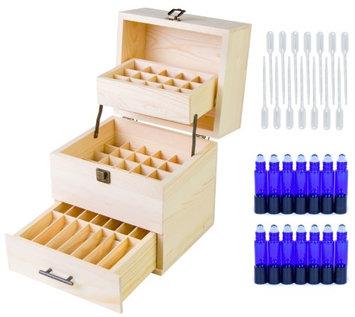 Aroma Designs Wood Essential Oil Organizer w/14 10ml Roller Bottles - Also Holds 45 5-15ml
