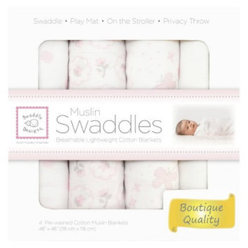SwaddleDesigns 4pk Muslin Swaddle Blankets - Butterflies and Posies -