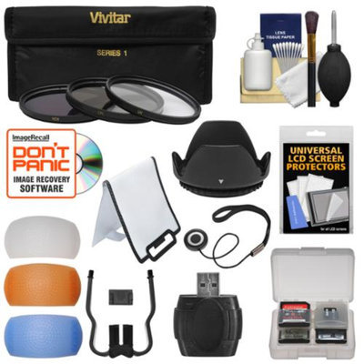 Vivitar 52mm Essentials Bundle with 3 UV/CPL/ND8 Filters + Lens Hood + 4 Pop-Up Flash Diffusers + Card Reader + Kit