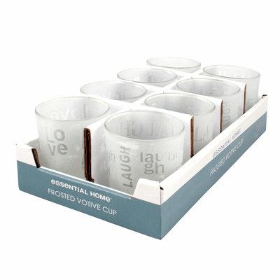 Ckk Industrial Ltd Essential Home Votive Cup Frosted Glass Love - CKK INDUSTRIAL LTD