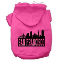 Mirage Pet Products San Francisco Skyline Screen Print Pet Hoodies Bright Pink Size Sm (10)
