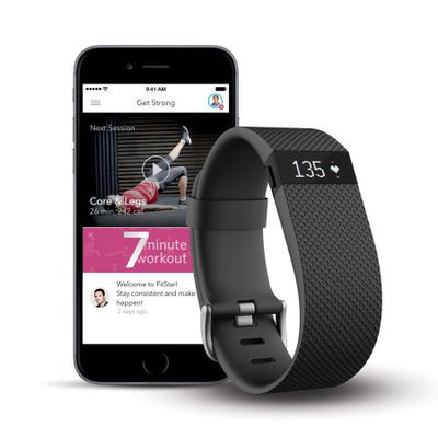 Fitbit Charge HR + FitStar Personal Training Bundle - Large