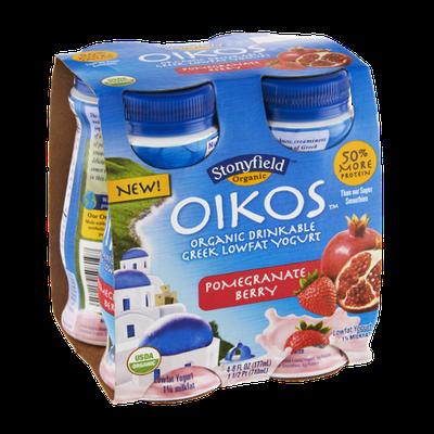 Stonyfield Organic Oikos Pomegranate Berry Organic Drinkable Greek Lowfat Yogurt - 4 PK