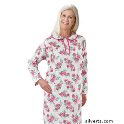 Silvert's Silverts 262010201 Hospital & Home Health Care Night Gown for Womens Rose - 2XL
