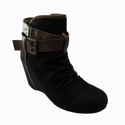 Soda Black/Tan Hidden Wedge Urban Style Ankle Bootie (6.5)