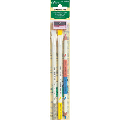 Clover Chacopel Fine Fabric Marking Pencils And Sharpener