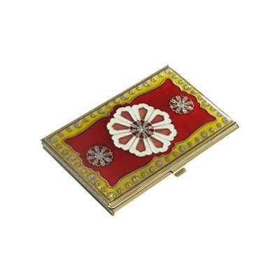 Visol V700B Farah Red Lacquer and Brass Business Card Case