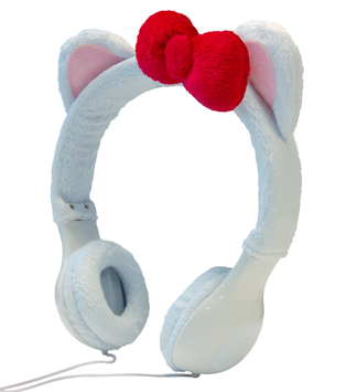 Sentron INTERWORKS UNLIMITED INC Mix Monster Headphones - White Kitty with Red Bow