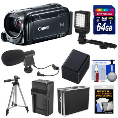 Canon Vixia HF R50 8GB 1080p HD Wi-Fi Digital Video Camcorder with 64GB Card + Battery & Charger + Hard Case + LED Light + Mic + Tripod Kit