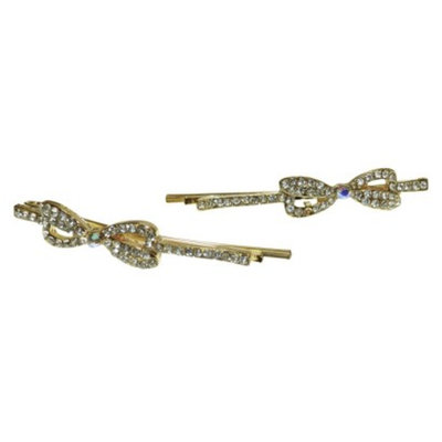 RIVIERA, A STYLEMARK CO Women's Riviera Bow Bobby with Rhinestones - Gold/Clear